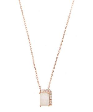 Rose Gold Rainbow Moonstone Diamond Necklace