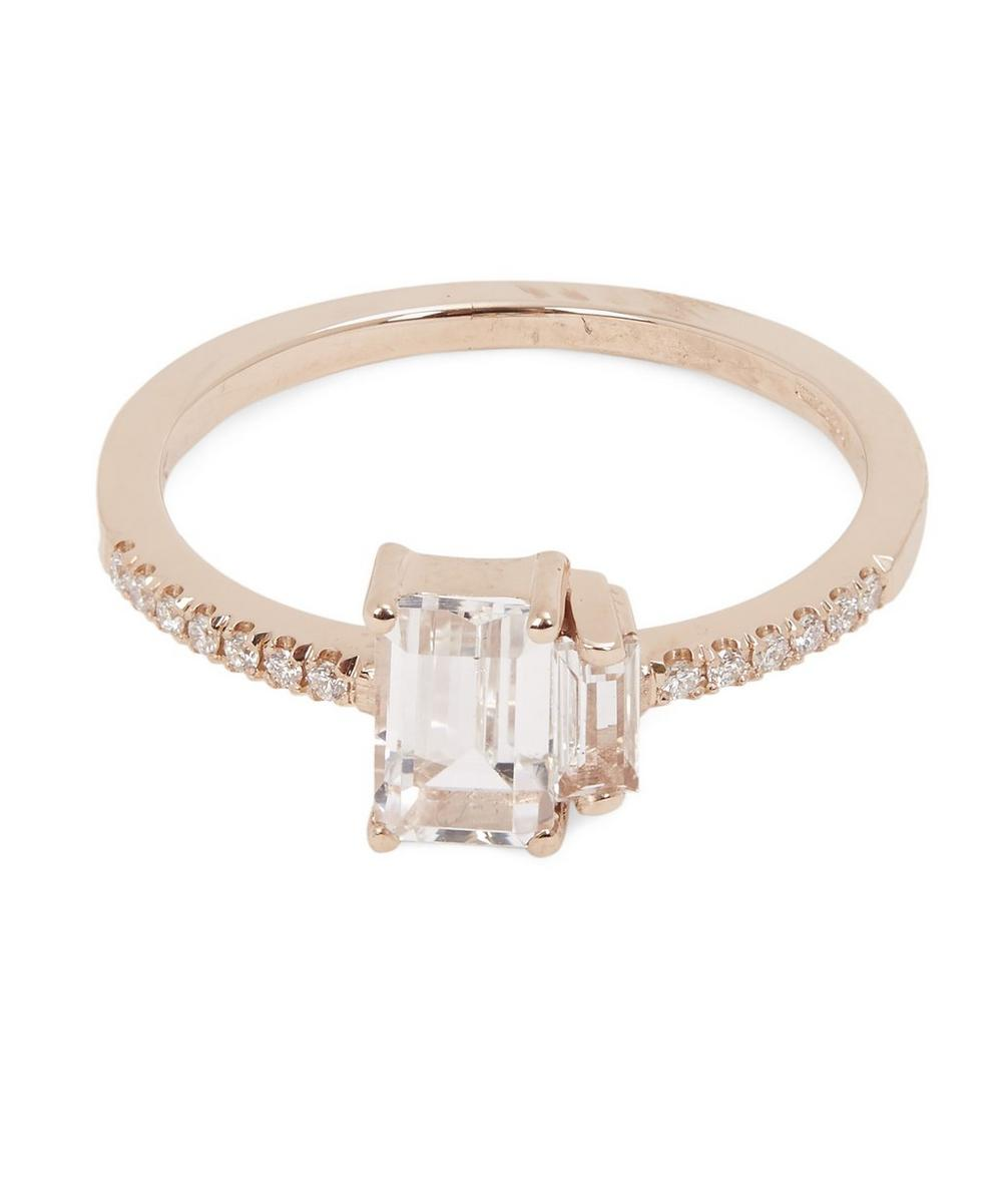 Rose Gold White Topaz Diamond Ring
