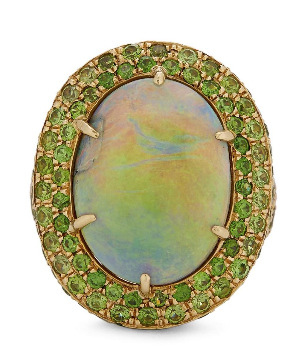 Gold Black Opal and Demantoid Garnet Cluster Ring