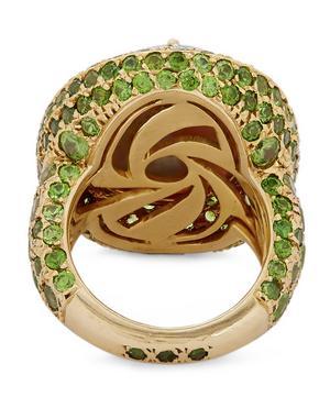 Gold Black Opal and Demantoid Garnet Cluster Ring