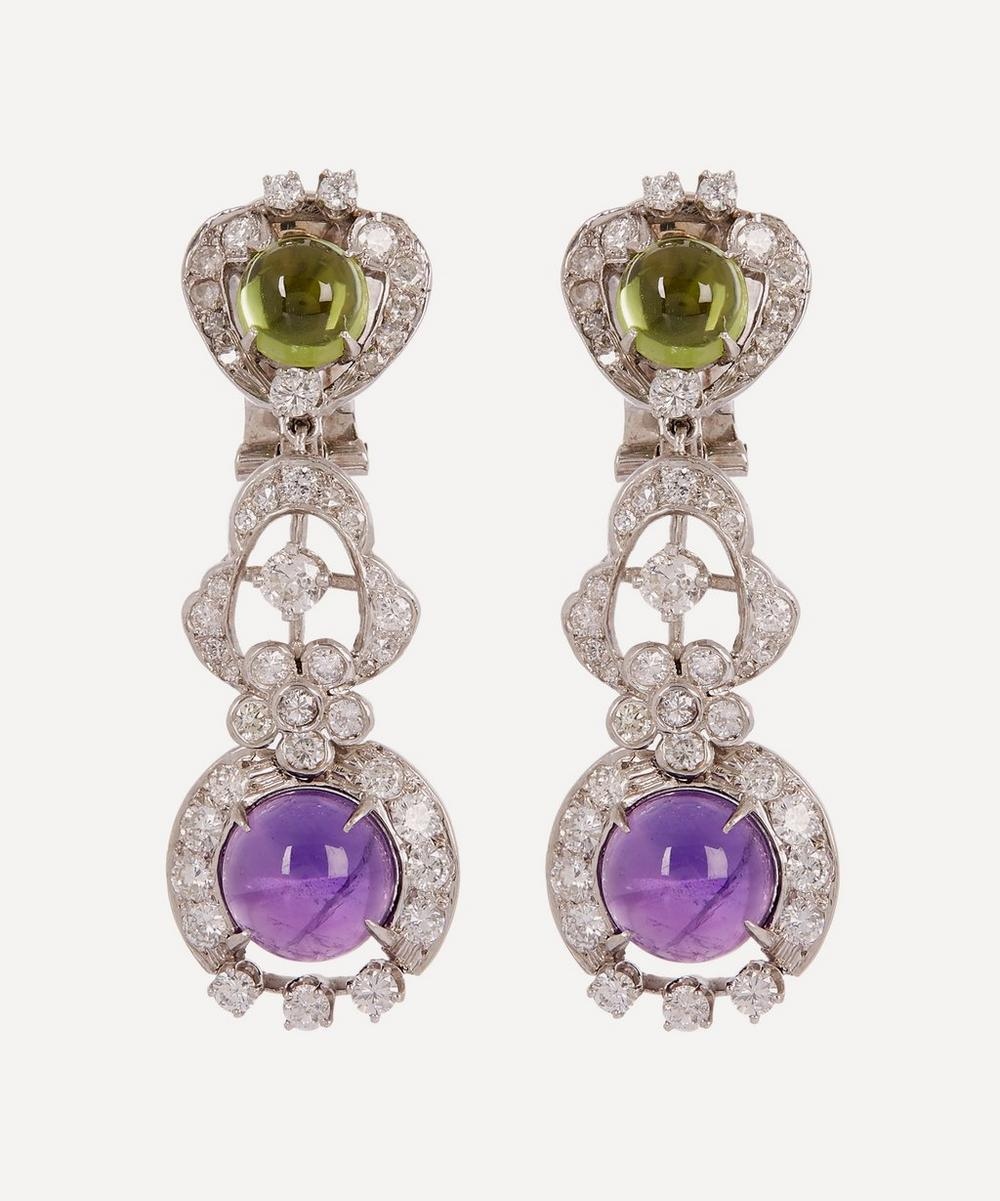 KOJIS White Gold Suffragette Gemstone Clip-On Earrings in White, Gold