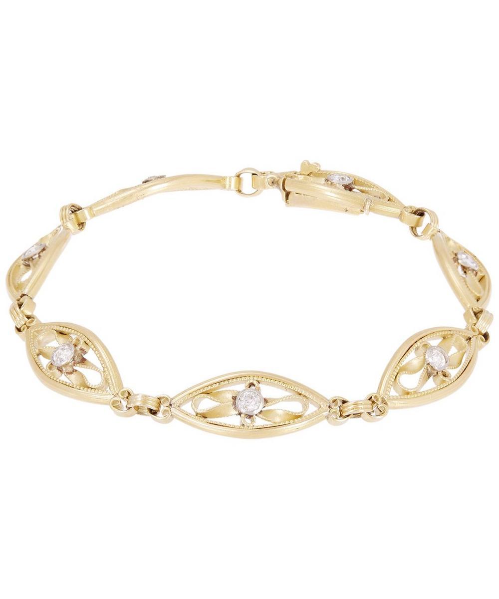 KOJIS Gold Art Nouveau Diamond Filigree Bracelet