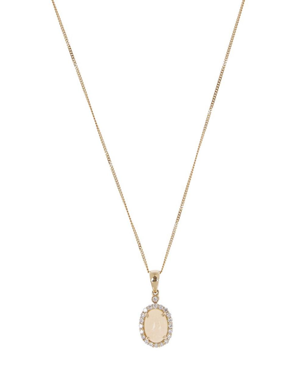 Gold Opal and Diamond Pendant Necklace