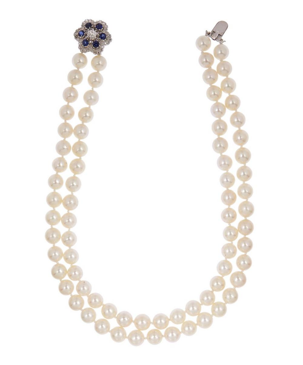 KOJIS Double Layered Pearl Necklace in White, Gold