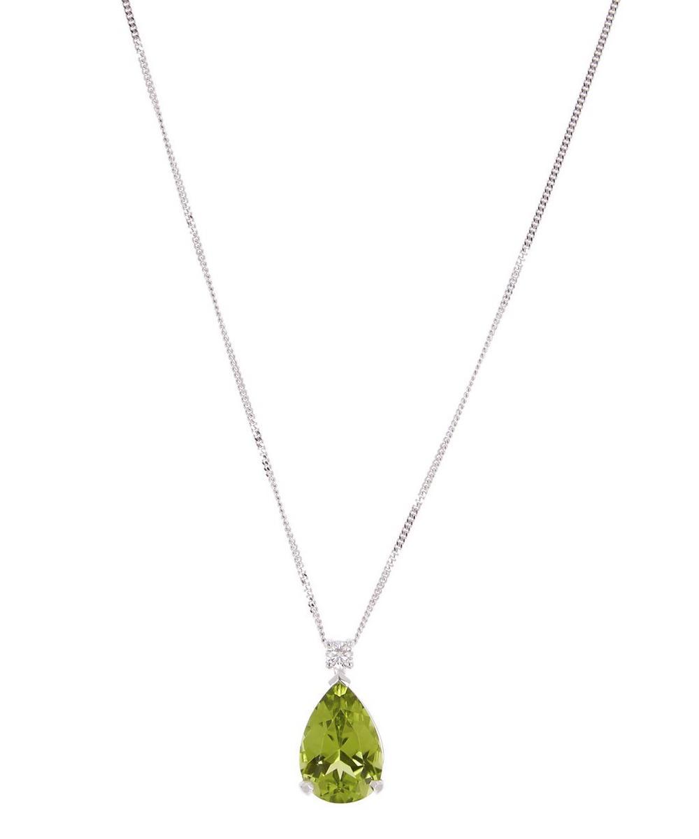 KOJIS White Gold Peridot And Diamond Pendant Necklace in White, Gold