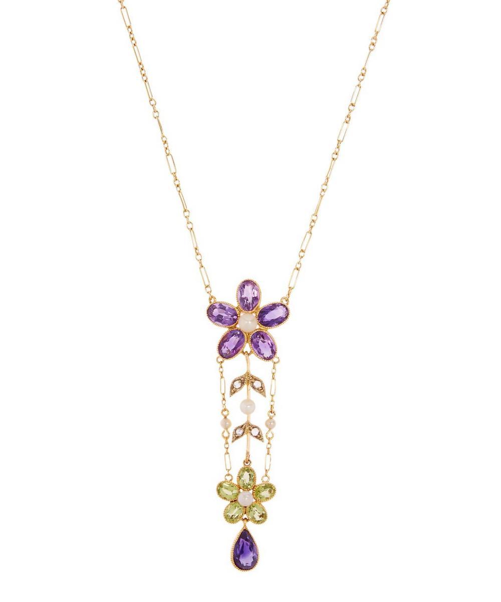 KOJIS Gold Suffragette Gemstone Pendant Necklace