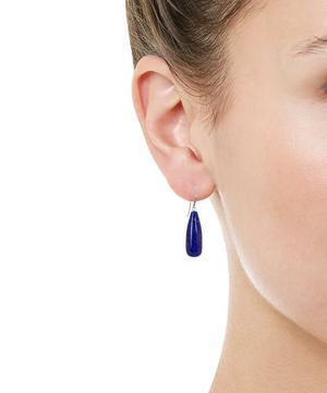 Gold Lapis and Diamond Drop Earrings