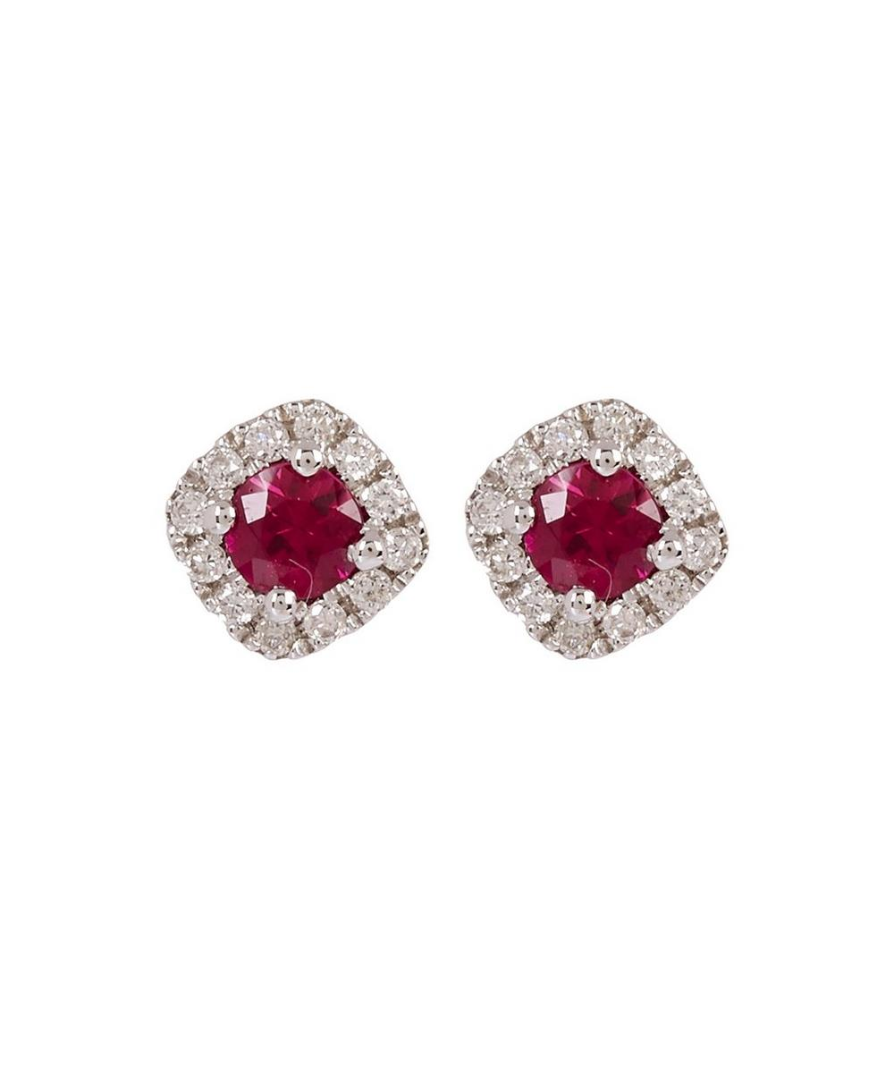 KOJIS White Gold Ruby And Diamond Cluster Stud Earrings in White, Gold