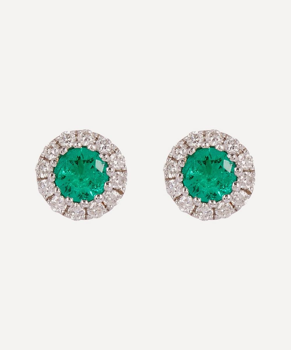 White Gold Emerald and Diamond Cluster Stud Earrings