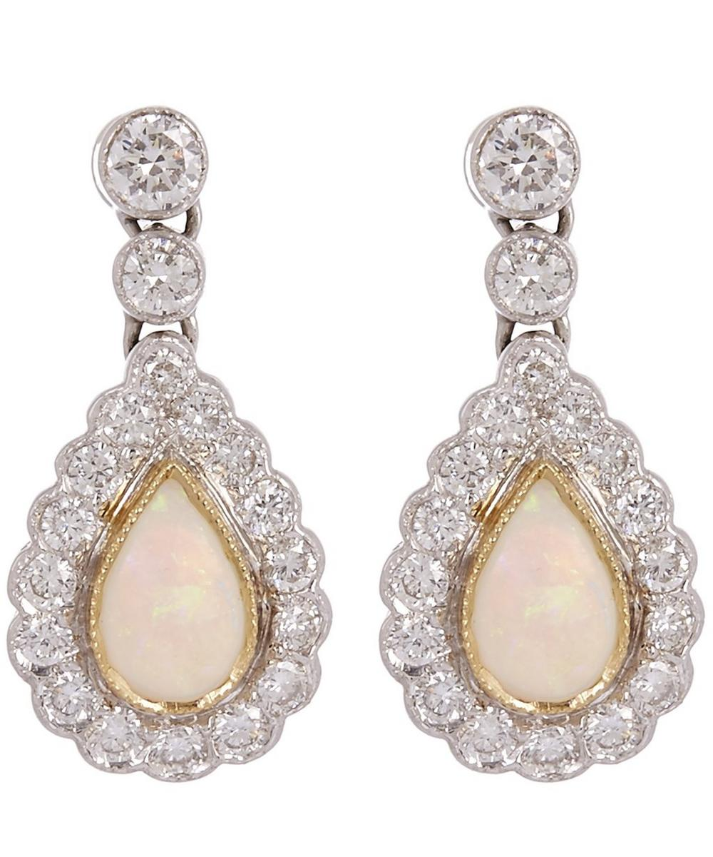 KOJIS White Gold Opal And Diamond Drop Earrings