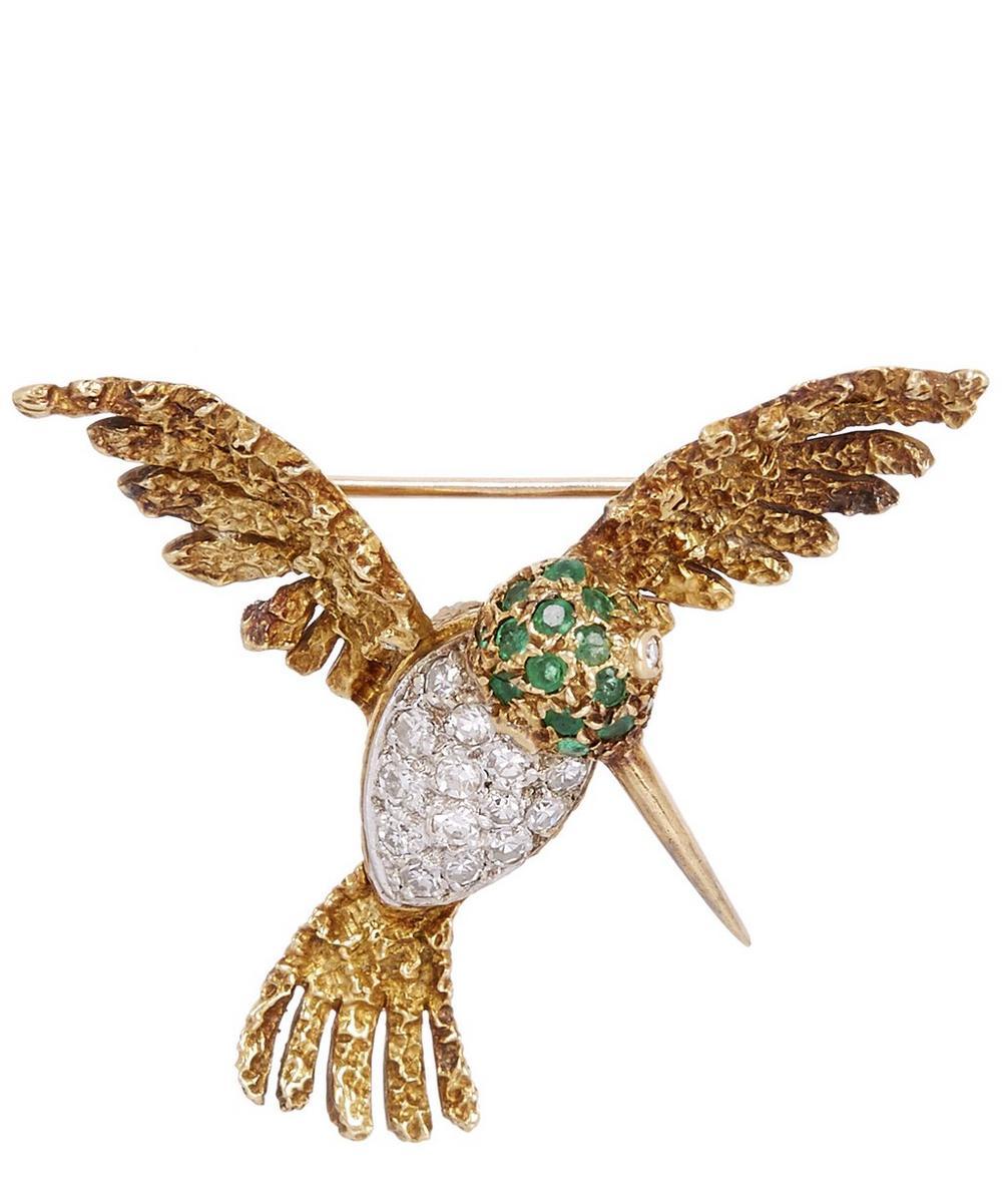 KOJIS Gold Gemstone Hummingbird Brooch