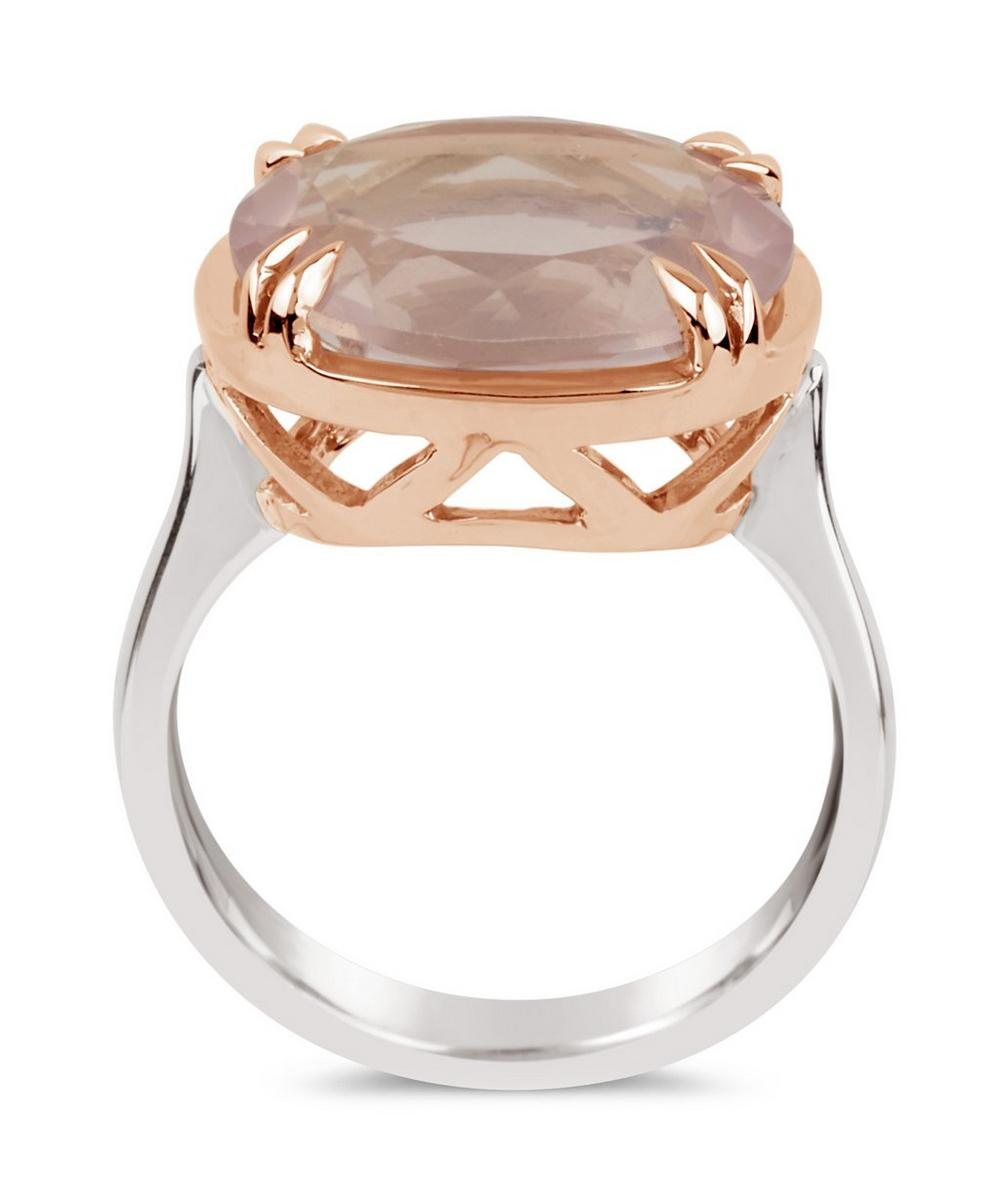 Silver and Rose Gold Cassiopeia Rose Quartz Ring