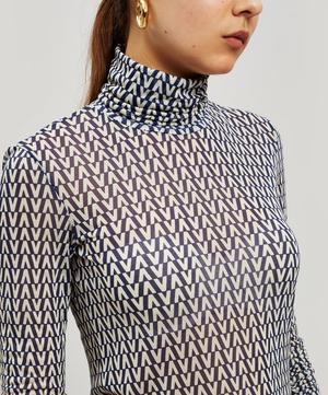 Printed Jersey Turtleneck Top