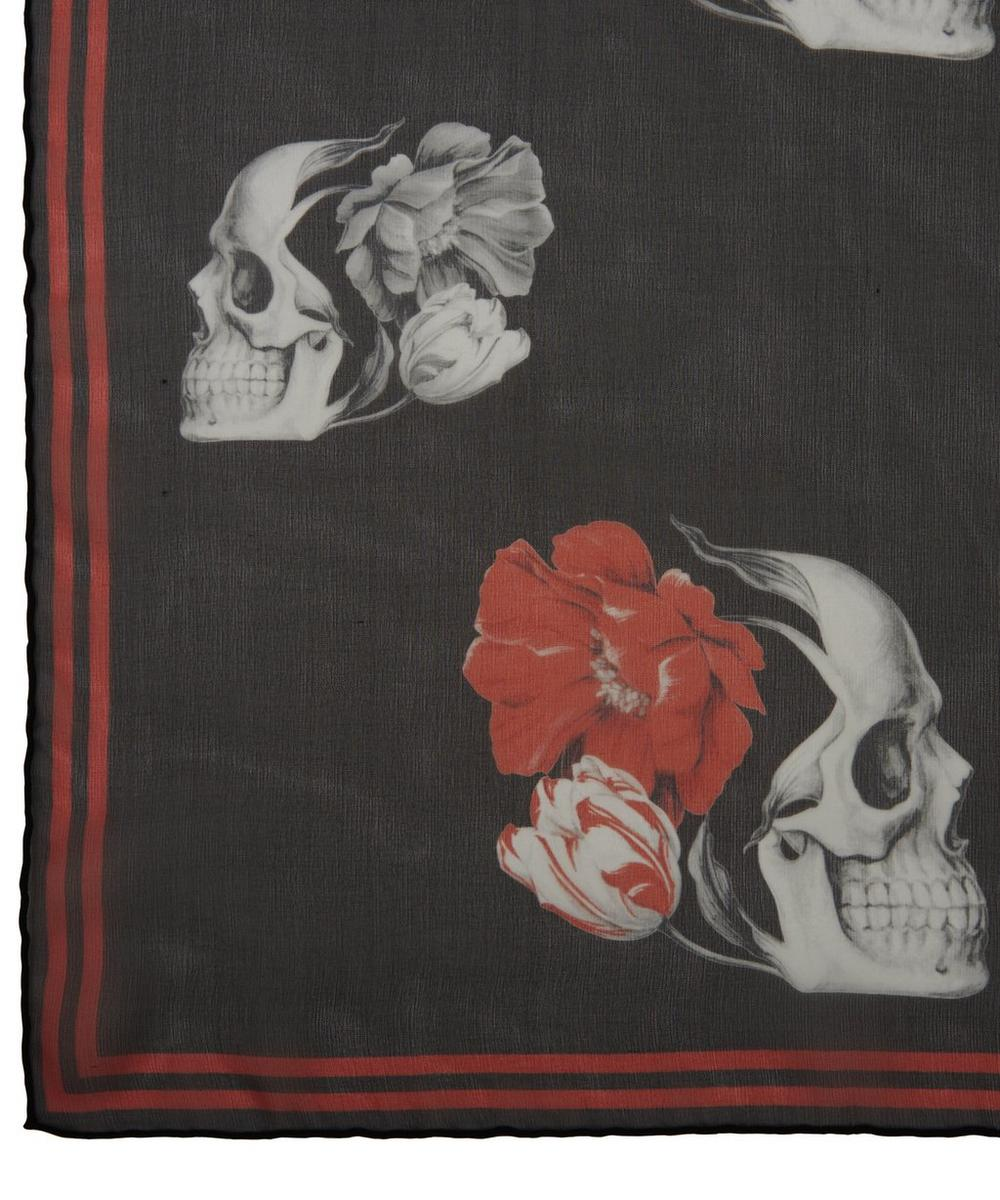 Bloom Skull Print Silk Chiffon Scarf
