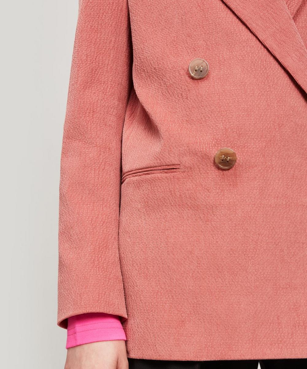 Double-Breasted Slubbed Cotton-Blend Blazer