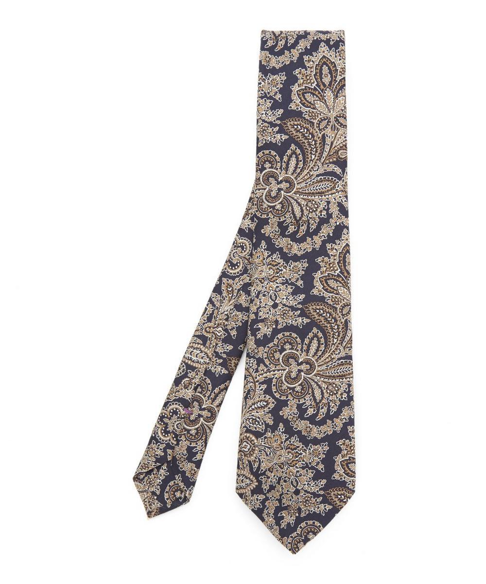 Mala Silk Jacquard Tie in Navy