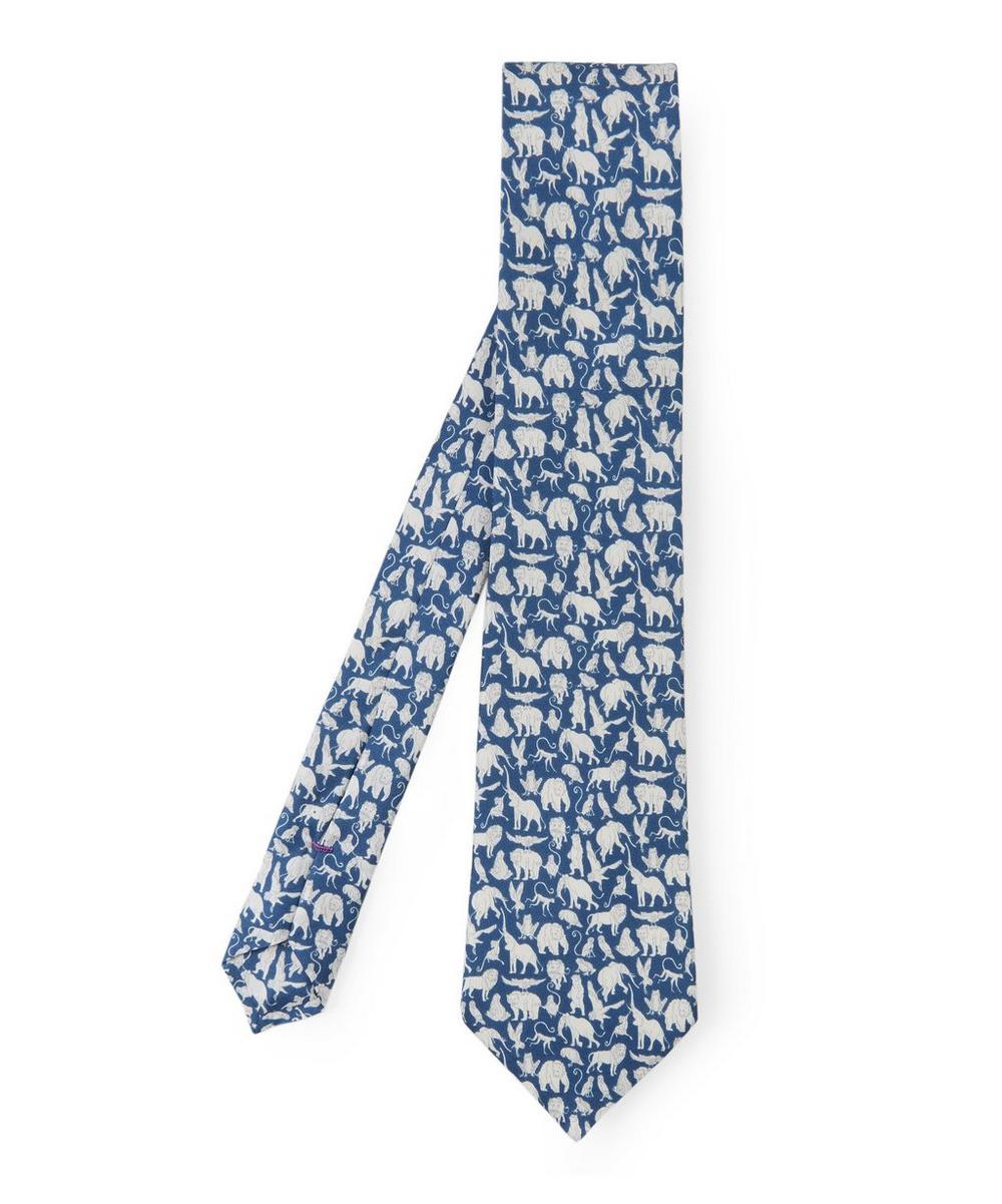 Arthurs Ark Printed Silk Tie in Blue