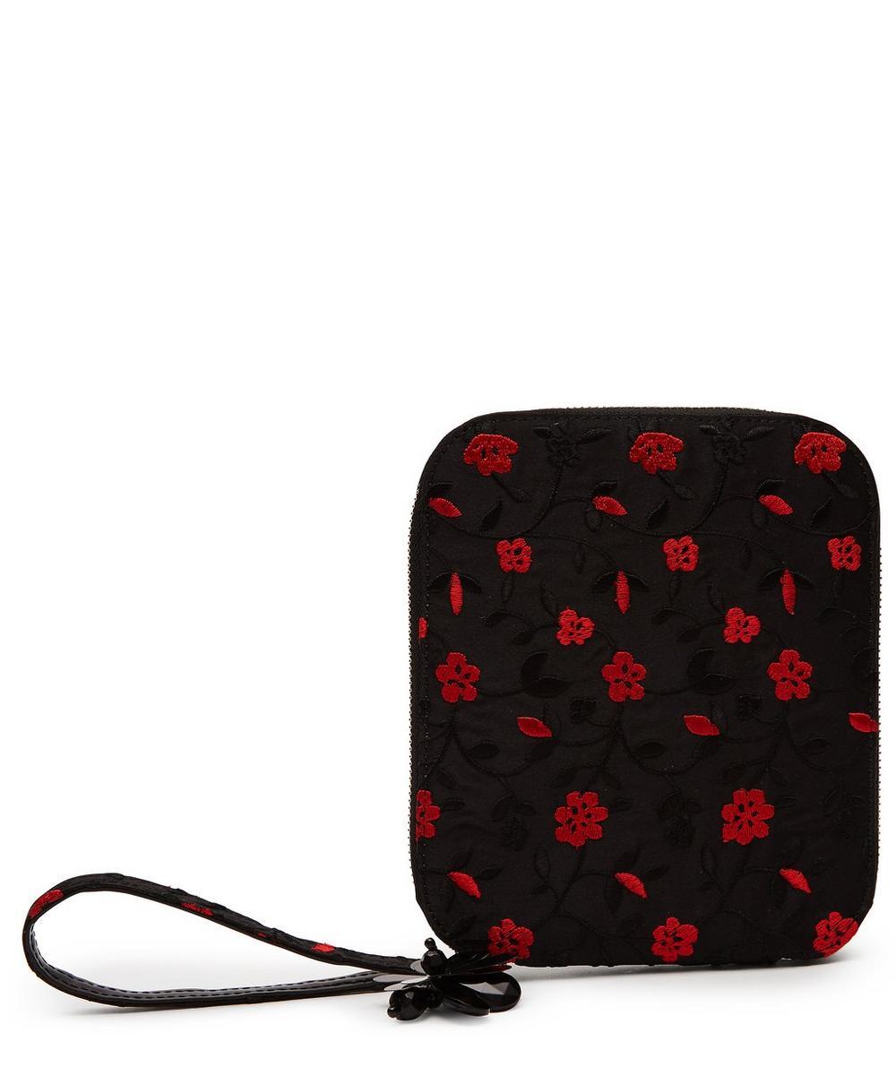 Embroidered Floral Wristlet Bag