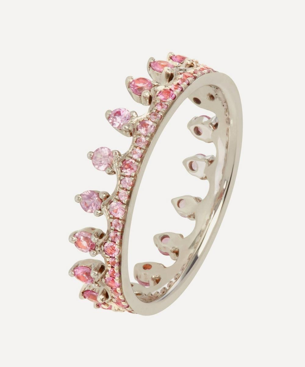 18ct White Gold Pink Sapphire Crown Ring