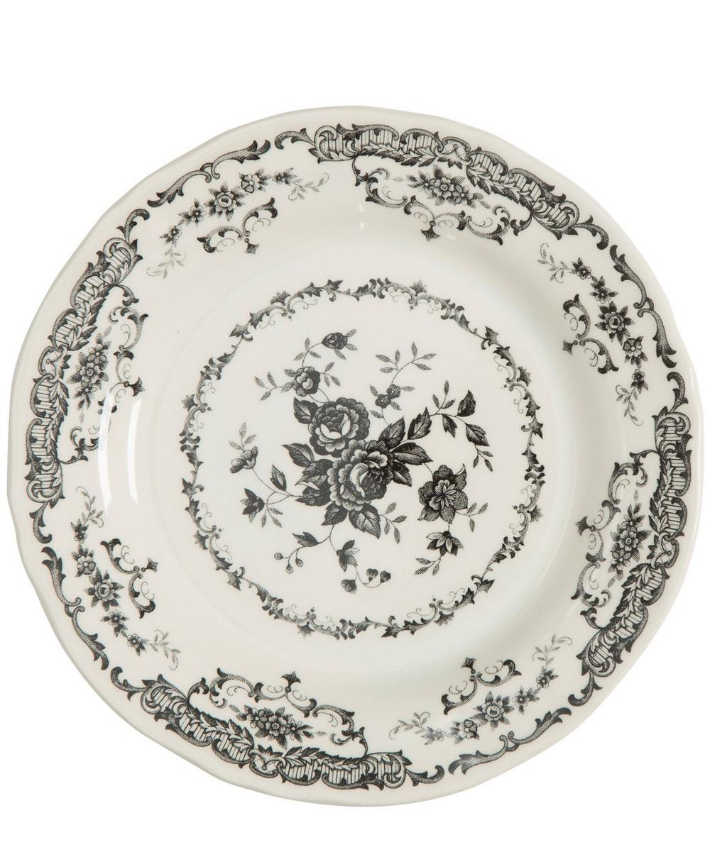 Ironstone Floral Decal Dinner Plate