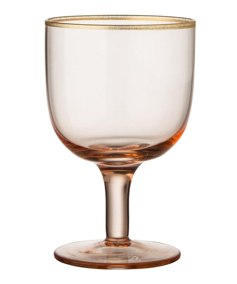 Powder Glass Water Goblets Set of Six
