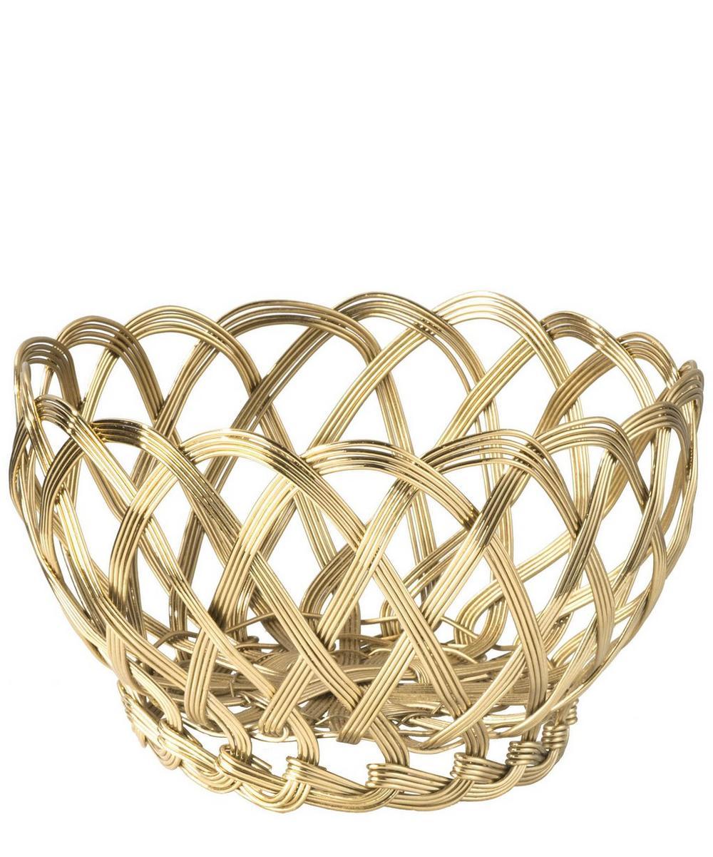 Gold Tone Metal Braided Thread Basket