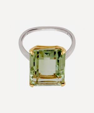 Silver and Gold Amica Green Amethyst Ring