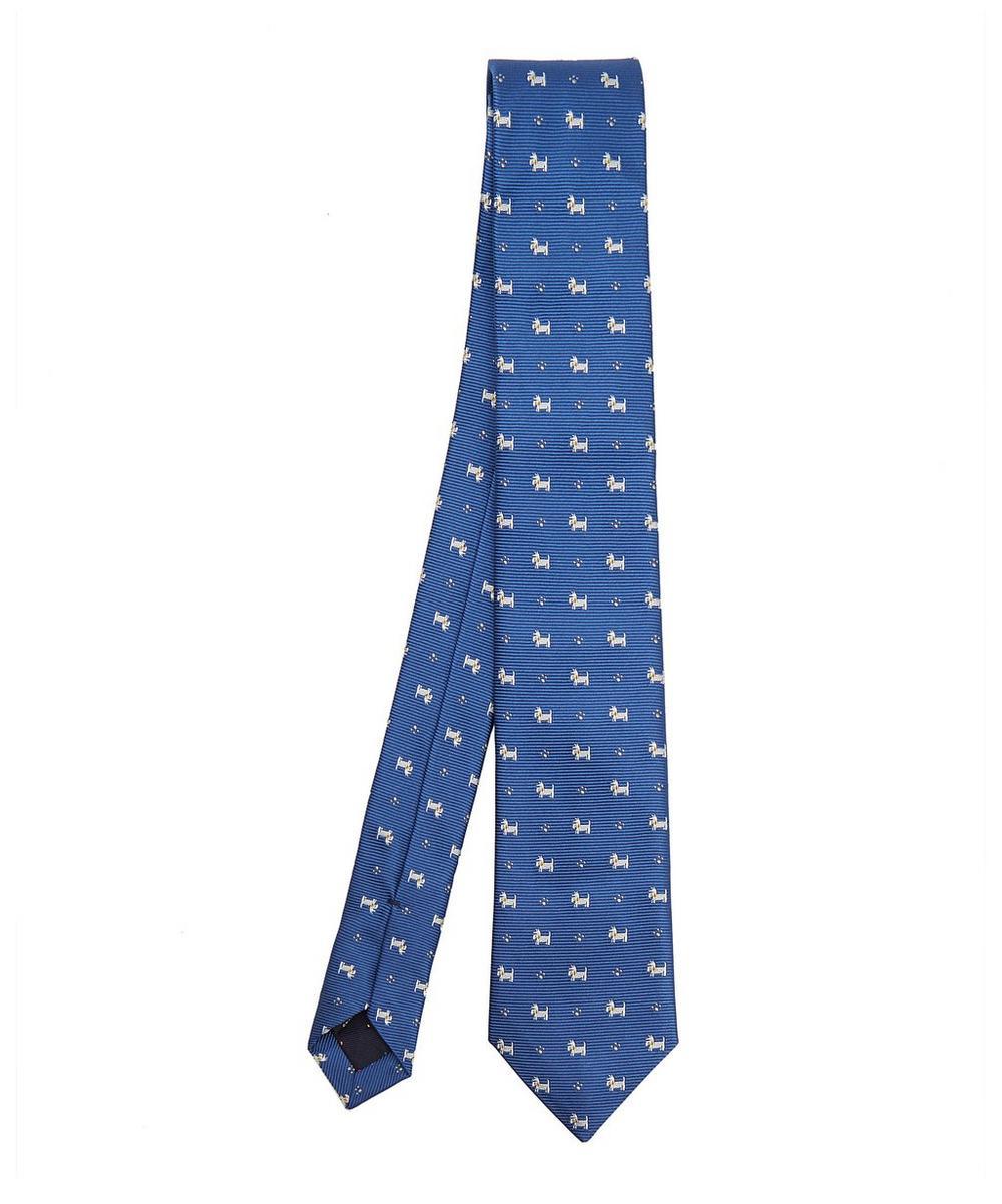 Embroidered Dog Silk Tie