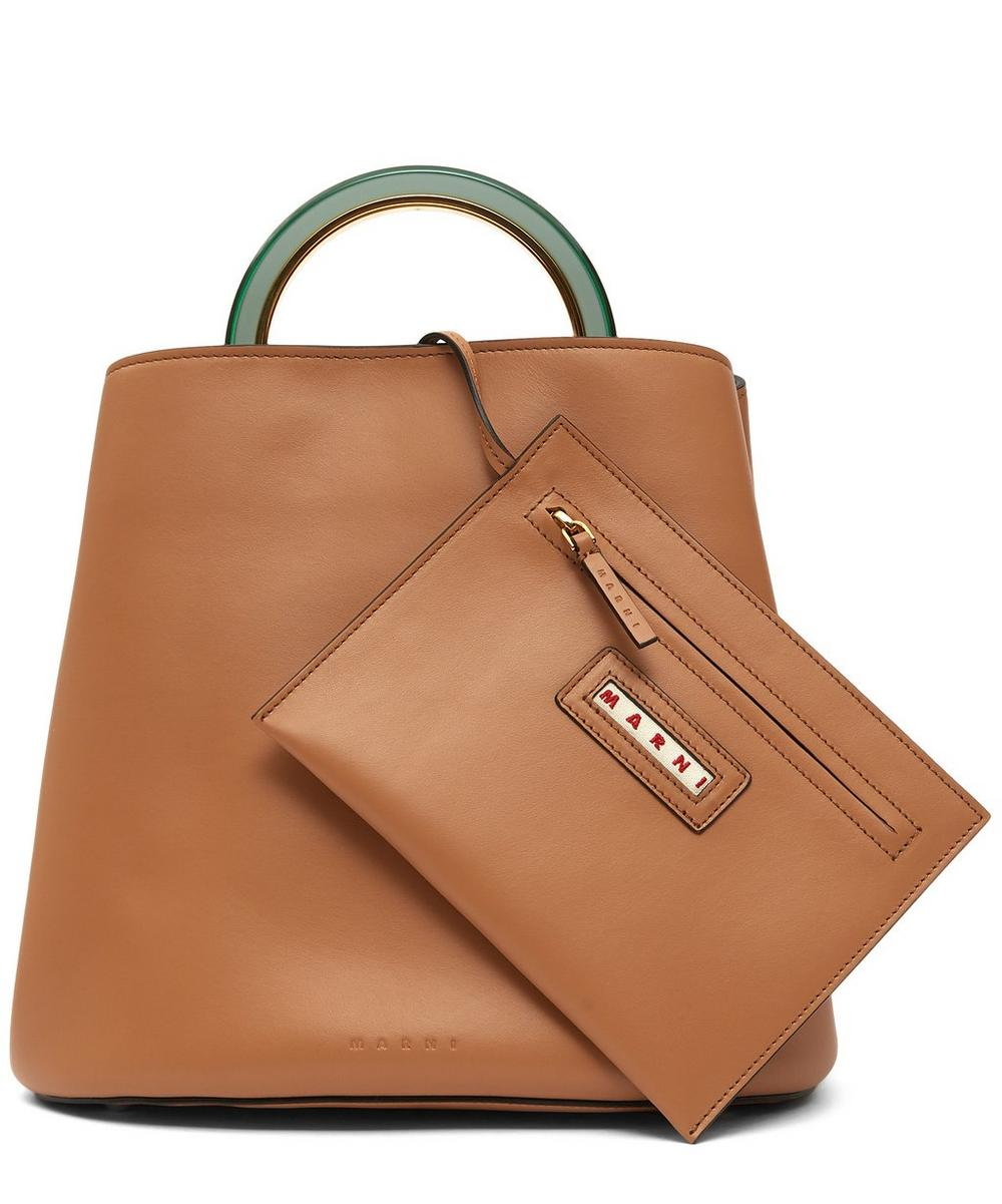 Large Leather Pannier Tote Bag
