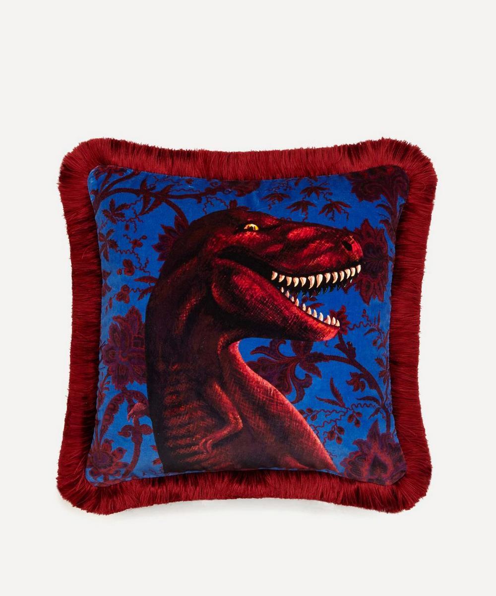 Rex Medium Fringed Velvet Cushion