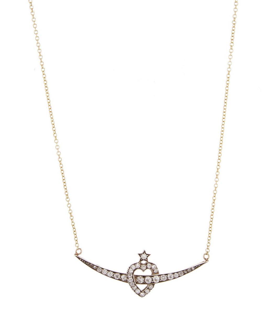Gold Heart Crescent Diamond Necklace