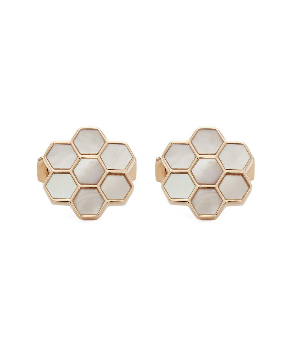 SIMON CARTER Honeycomb Mother Of Pearl Cufflinks in Gold