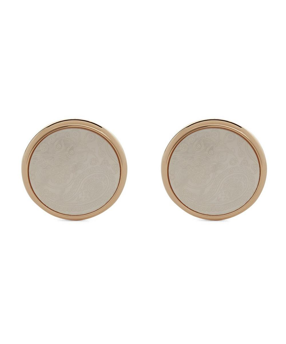 SIMON CARTER Round Mother Of Pearl House Paisley Cufflinks in Grey