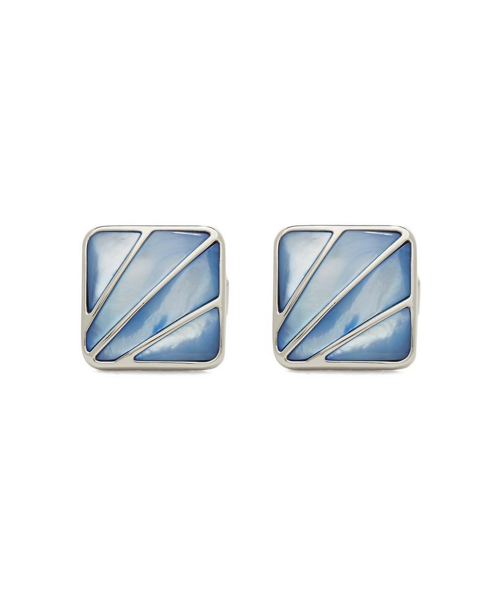 SIMON CARTER Art Deco Fan Mother Of Pearl Cufflinks in Blue