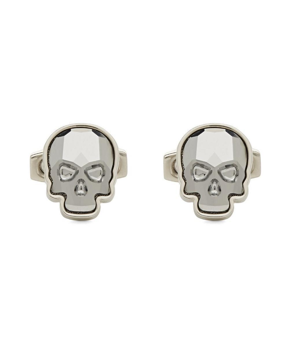 SIMON CARTER Swarovski Crystal Skull Cufflinks in Silver