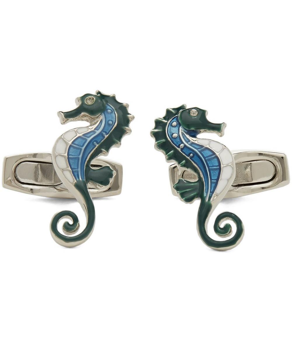 SIMON CARTER Under The Sea Seahorse Cufflinks in Blue