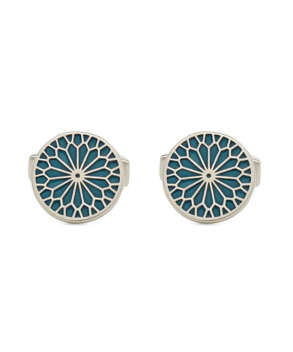 SIMON CARTER Round Stained Glass Enamel Cufflinks in Blue