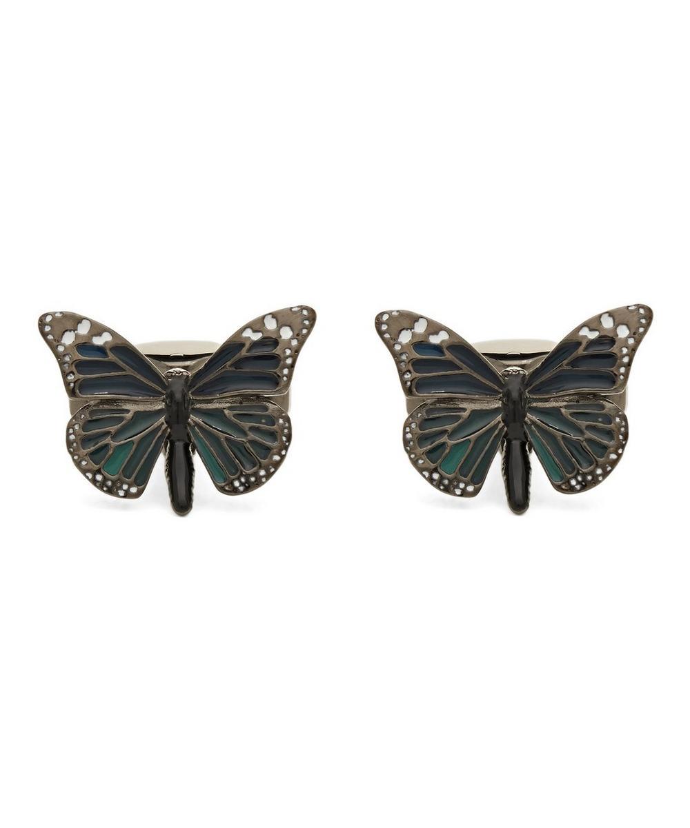 SIMON CARTER Butterfly Cufflinks in Blue Gunmetal