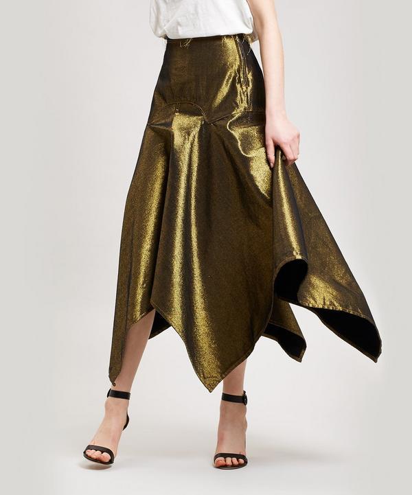 e1a8de0e1682 Metallic Denim Asymmetric Midi-Skirt ...