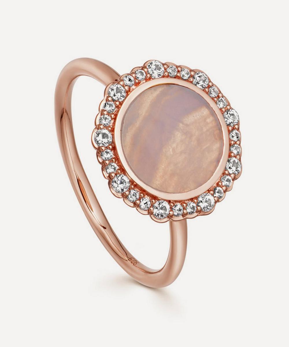 Rose Gold Luna Lace Agate Sapphire Ring