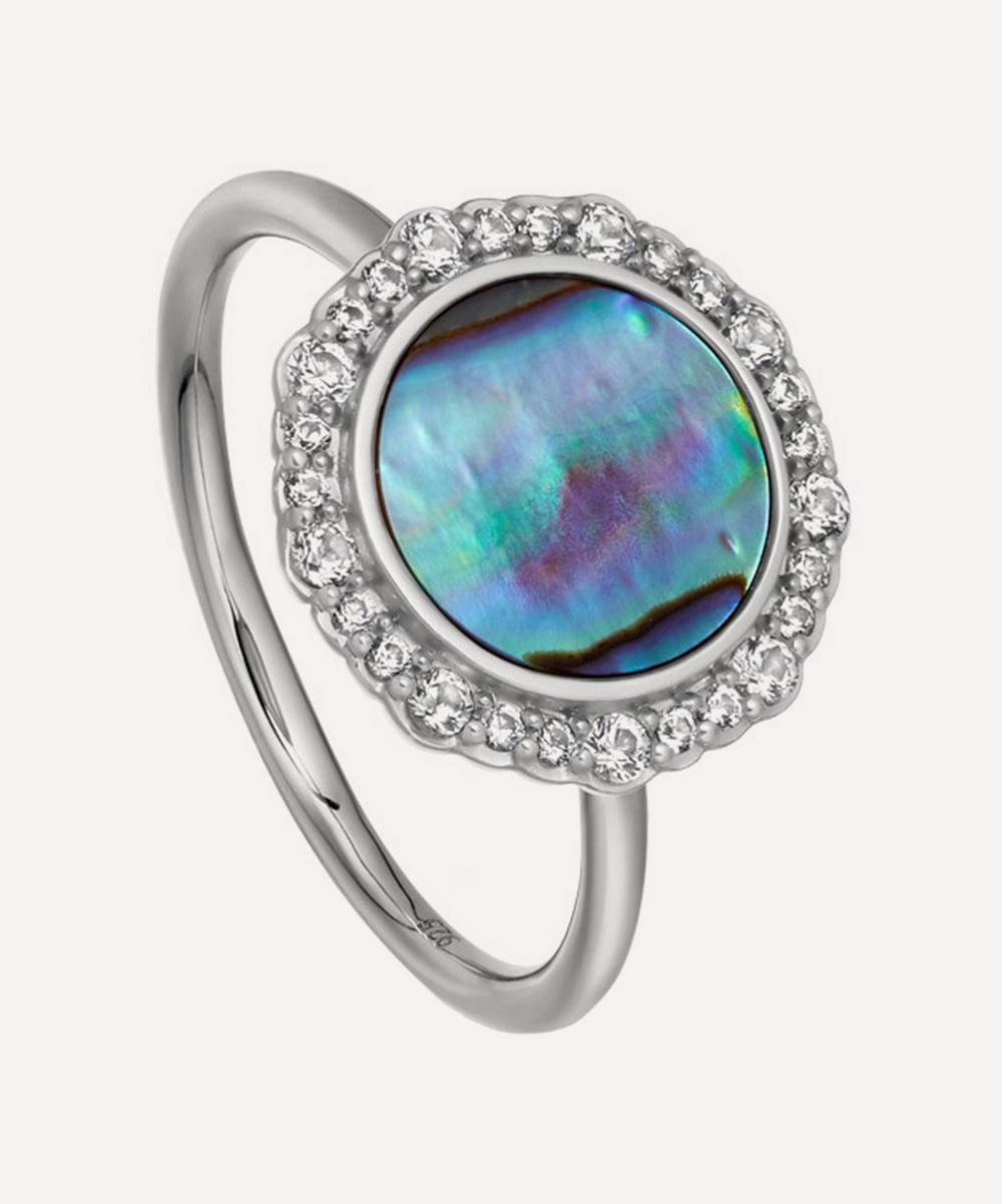 Silver Luna Abalone Sapphire Ring