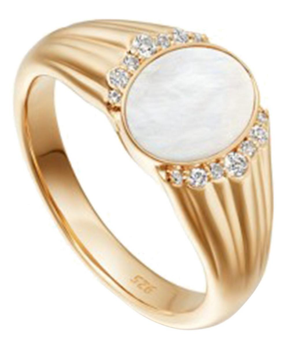 Gold Luna Mother Of Pearl Sapphire Signet Ring