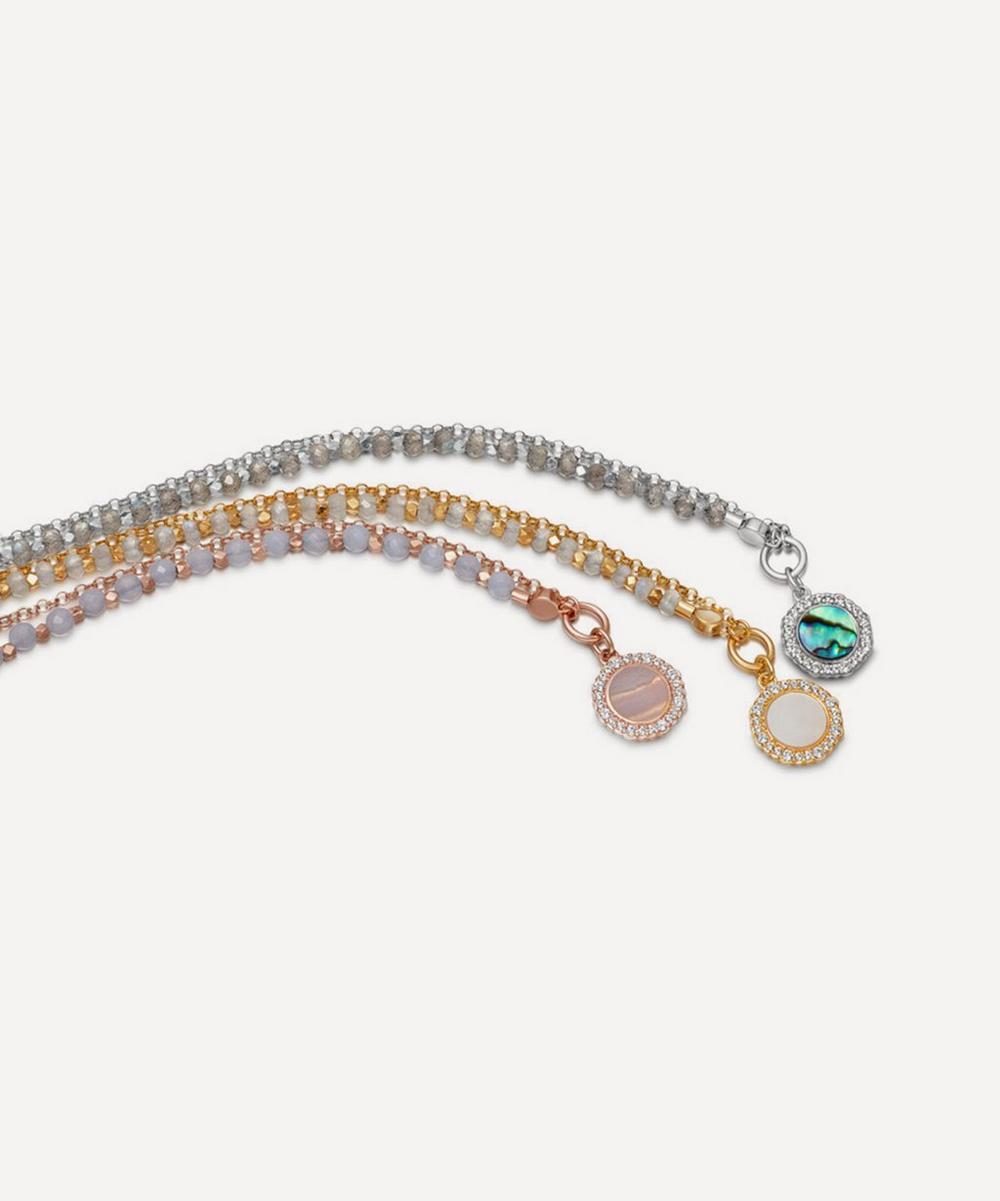 Rose Gold Plated Vermeil Silver Luna Lace Agate Sapphire Biography Bracelet