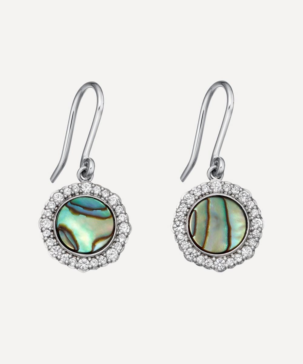 Silver Luna Abalone Sapphire Drop Earrings