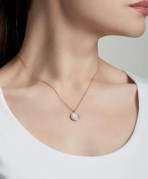 Rose Gold Vermeil Luna Lace Agate Sapphire Pendant Necklace