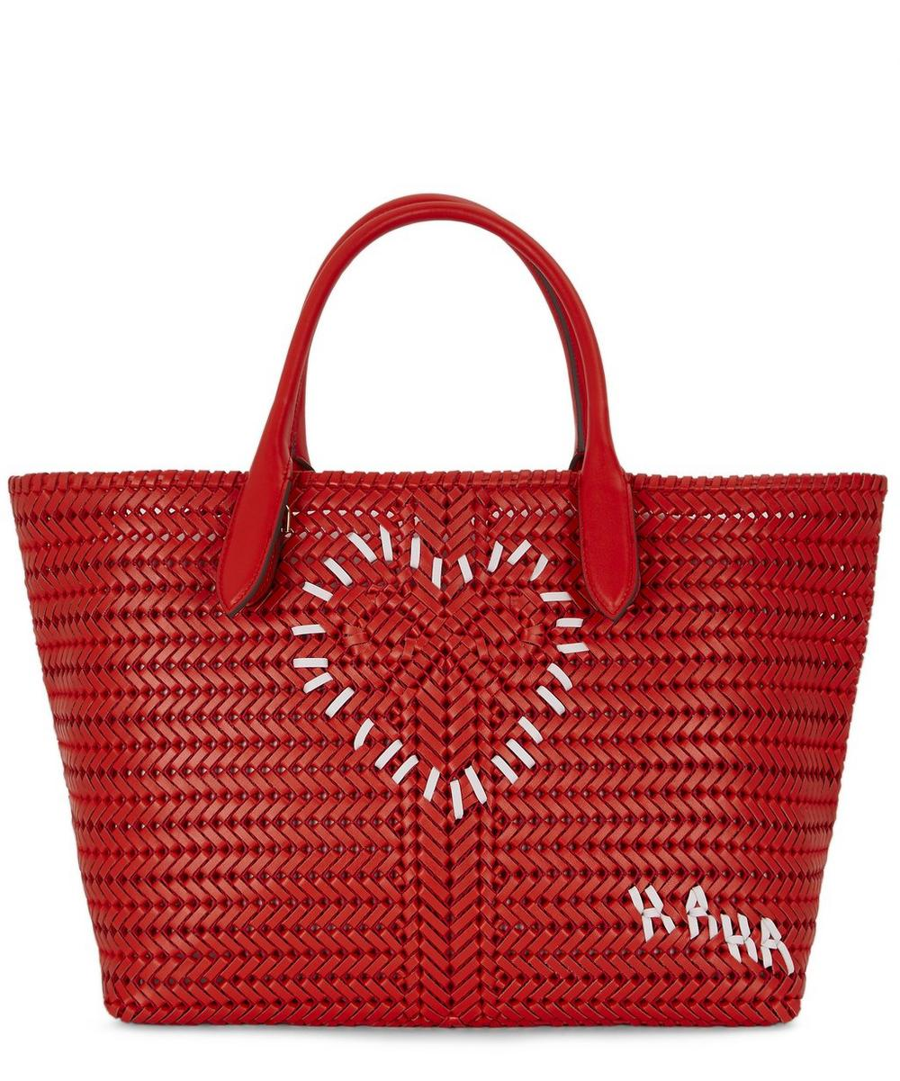 Anya Hindmarch Totes Neeson Large Woven Leather Heart Tote Bag