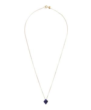 Gold Cristal Root of Sapphire Pendant Necklace