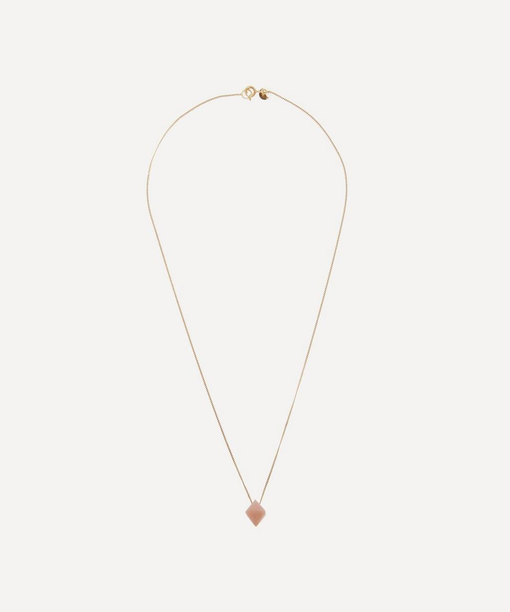 Gold Cristal Pink Opal Pendant Necklace