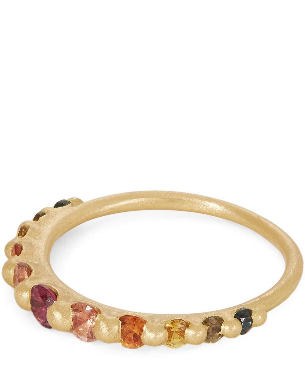 Gold Iris Blossom Crush Sapphire Ring