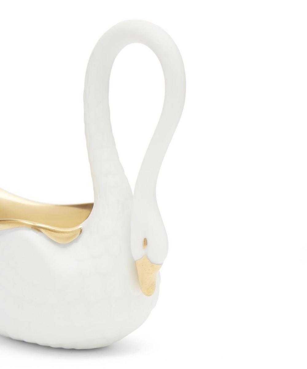 Porcelain and Gold-Plated Swan Salt Cellar and Spoon